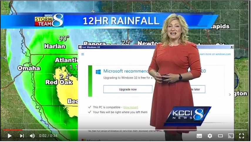 Microsoft update interrupts weather broadcast.
